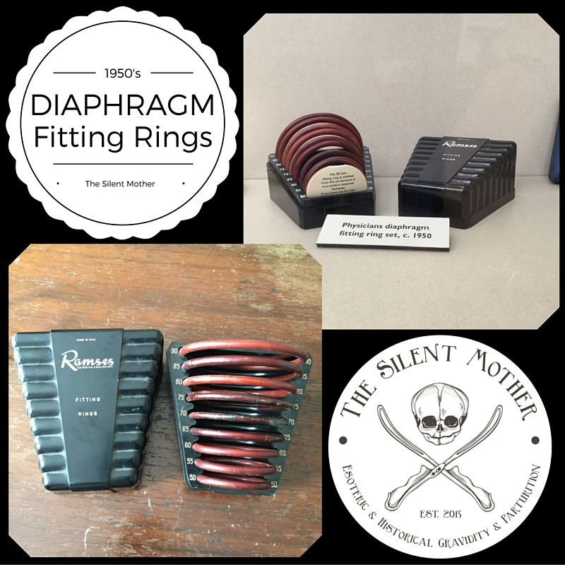 1950's Diaphragm fitting rings. The box is Bakelite, the rings are rubber. Top photo is part of the collection at The Dittrick. Bottom photo is in my personal collection.