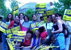 I put my boots on the ground during March for Women's Lives in DC in April 2003